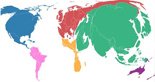 Este mapa representa as emisión contaminantes por países